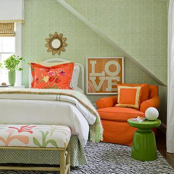 Katie Rosenfeld Design - girl's rooms - green, table, orange, slipcover, club, chair, orange, pillow, zebra, rug, small, gold, sunburst, mirror, orange, green, bedding, green, faux bamboo, bench, green and orange girls room, green and orange girls bedroom,