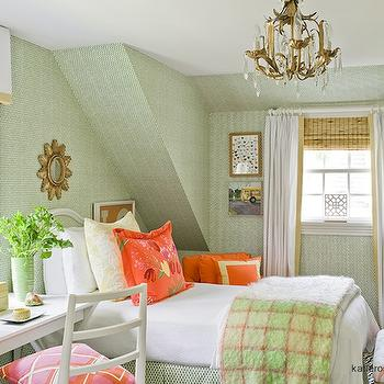 Katie Rosenfeld Design - girl's rooms - green, wallpaper, orange, pillows, brass, crystal chandelier, glossy, white, lacquer, desk, white, valance, box, tan, trim, white, drapes, layered, bamboo, roman shades, desk as nightstand, desk used as nightstand, desk nightstand, nightstand desk,