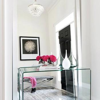 Buchman Photo - entrances/foyers - acrylic, console, table, glossy, white, lacquer, floor mirror, glossy, black, door, gray, x-bench, lucite console table, Robert Abbey Bling,