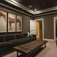 Lewis Interiors - basements - tray, ceiling, brown, gray, grasscloth, wallpaper, chocolate, brown, velvet, sofa, teal, blue, piping, brown, leather, ottoman, brown, Greek key, pattern, rug, brown, blue, stripe, pillows, horse, triptych, art, taupe paint, taupe paint colors, taupe paint color, taupe walls,
