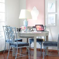 Samantha Pynn - dining rooms - pink, art, baby blue, chippendale, chairs, blue, velvet, cushions, glossy, white, lacquer, dining table, blue, urn, lamp,