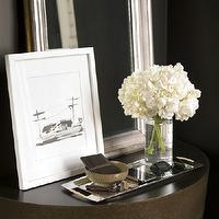 Thom Filicia - entrances/foyers - vignette, silver, leaf, mirror, sketch, white, gallery, frame, demi-lune, table, silver, tray, holdall,  Sleek