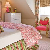 Katie Rosenfeld Design - girl's rooms - tan, walls, hot pink, gold, French, chair, pink, damask, duvet, green, pink, bed skirt, glossy, white, lacquer, dresser, pink and green girls bedroom, pink and green girls room, pink and green girls bedding, pink chair, upholstered chair, pink upholstered chair,