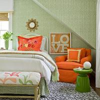 Katie Rosenfeld Design - girl's rooms - green, table, orange, slipcover, club, chair, orange, pillow, zebra, rug, small, gold, sunburst, mirror, orange, green, bedding, green, faux bamboo, bench,