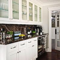 Buchman Photo - kitchens - floor to ceiling, glass-front, white, kitchen cabinets, black, marble, slab, countertops, backsplash, wine cooler, mini, glass-front, fridge, mini-fridge, glass-front mini-fridge,