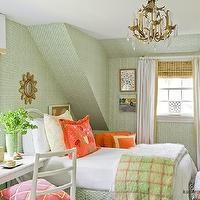 Katie Rosenfeld Design - girl's rooms - green, wallpaper, orange, pillows, brass, crystal chandelier, glossy, white, lacquer, desk, white, valance, box, tan, trim, white, drapes, layered, bamboo, roman shades,