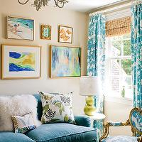 Katie Rosenfeld Design - living rooms - bench, ottoman, tan, walls, blue, velvet, sofa, gold, blue, toile, French, chair, green, double gourd, lamp, blue, toile, drapes, layered, bamboo roman shade, eclectic, art gallery, teal drapes, teal curtains, teal blue drapes, teal blue curtains, turquoise sofa, velvet sofa, turquoise velvet sofa,
