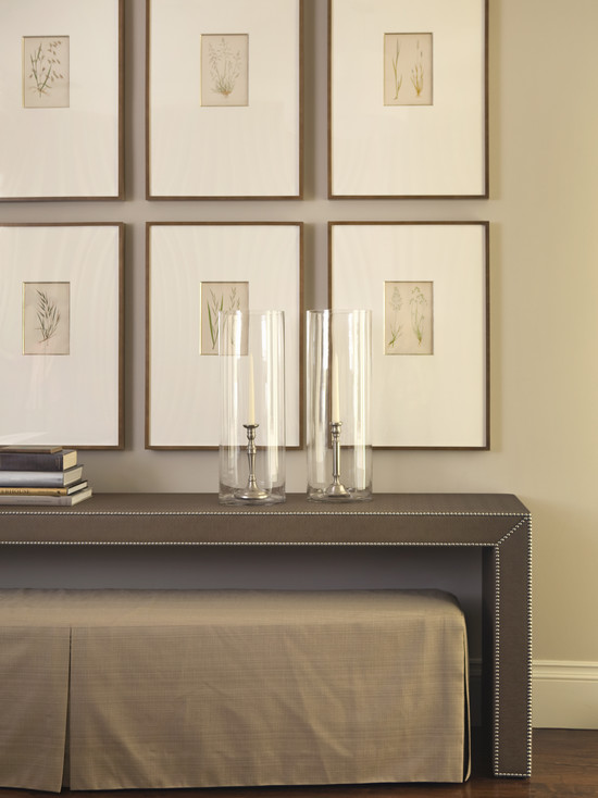 Tim Barber - entrances/foyers - tan, walls, glass, hurricanes, tan, skirted, bench, gray, upholstered, skirted, bench, art gallery, gray console table, grey console table,