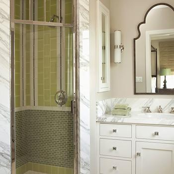Tim Barber - bathrooms - greige, walls, white, single bathroom cabinet, marble, top, corner, shower, green, glass tiles, backsplash, corner shower, corner shower design, corner shower ideas,