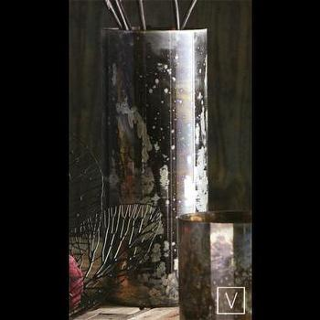 Decor/Accessories - Silver Cherry Bark Vase - silver, cherry, bark, vase
