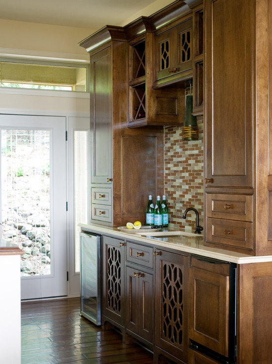 Tobi Fairley - kitchens - butler's pantry, brown, linear, glass tiles, backsplash, coffee satined, cabinets, wine cooler, brown kitchen cabinets, brown cabinets,