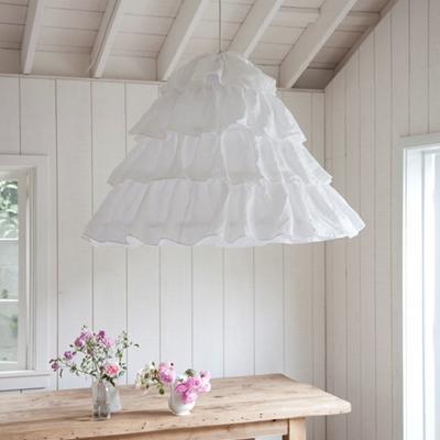 Lighting - Rachel Ashwell Shabby Chic Couture Petticoat Hoopskirt Overdyed Hanging Shade - linen, ruffled, hoopskirt, hanging, shade