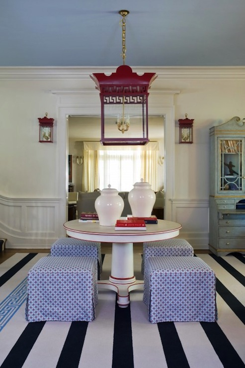 Tobi Fairley - entrances/foyers - blue, ceiling, white, blue, striped, rug, white, pedestal, foyer, table, blue, skirted, cube, ottomans, white, ginger jars, red, pagoda, lanterns,