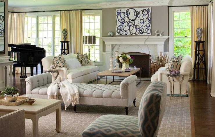 Velvet Tufted Bench, Transitional, living room, Muse Interiors