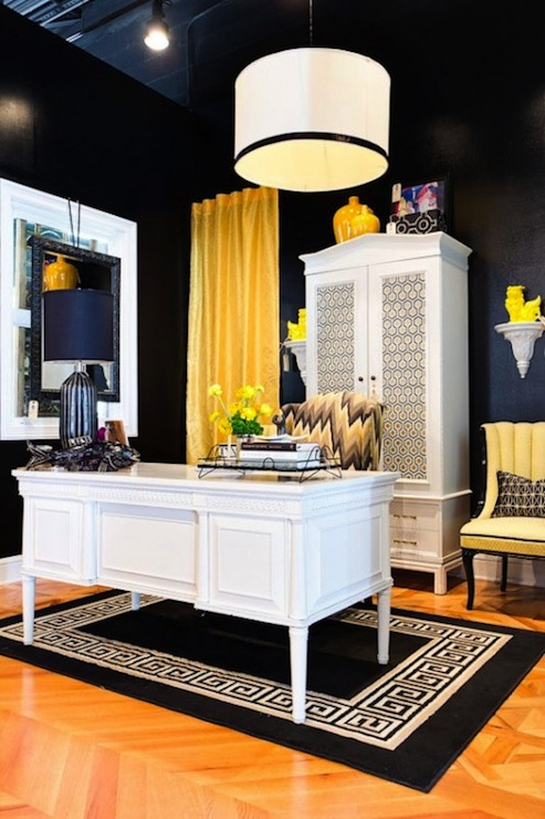 Studio Ten 25 - dens/libraries/offices - David Hicks Hexagon Wallpaper, white, armoire, glossy, black, walls, white, drum, pendant, black, ribbon, trim, yellow, drapes, yellow, vintage, chairs, white, black, Greek key, rug, white, desk,