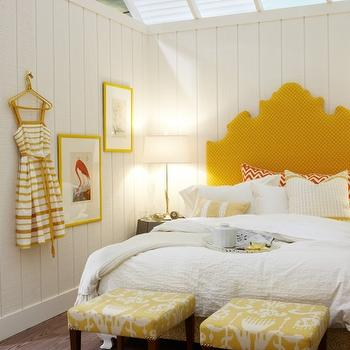 Sarah Richardson Design - bedrooms - yellow, ikat, fabric, stools, orange, pillows, yellow headboard, upholstered headboard, yellow upholstered headboard, Sarah Richardson Jasmine Headboard, Sarah Richardson Thomas Stool,