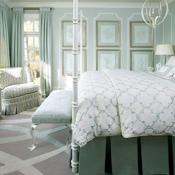 Lucite Bench, Transitional, Bedroom, Sherwin Williams Pearl Gray, Tobi Fairley