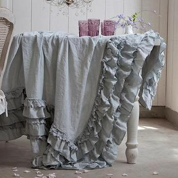 Decor/Accessories - Rachel Ashwell Shabby Chic Couture Teal Petticoat Tablecloth - teal, petticoat, tablecloth