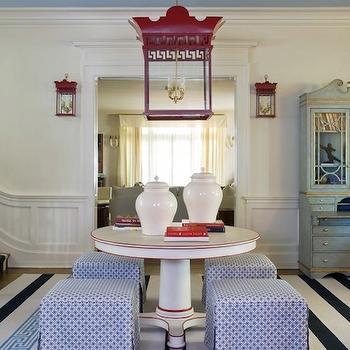 Tobi Fairley - entrances/foyers - blue, ceiling, white, blue, striped, rug, white, pedestal, foyer, table, blue, skirted, cube, ottomans, white, ginger jars, red, pagoda, lanterns, greek key lantern red pagoda lantern pagoda lantern, red greek key lantern red lantern, foyer lantern,