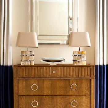Muse Interiors - living rooms - ivory, blue, drapes, silver, overlay, mirror, french key chest, global views chest,  Gorgeous foyer with Global