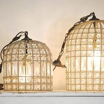 Lighting - Rachel Ashwell Shabby Chic Couture beaded Birdcage Hanging lights - birdcage, hanging, light