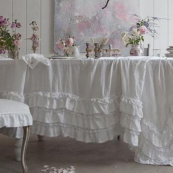Decor/Accessories - Rachel Ashwell Shabby Chic Couture White Petticoat Tablecloth - white, petticoat, tablecloth