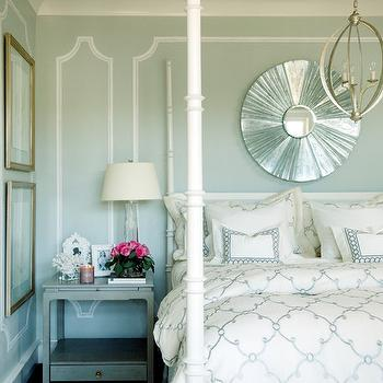 Tobi Fairley - bedrooms - mint, walls, white, poster, bed, white, blue, quatrefoil, pattern, duvet, shams, silver, sunburst, mirror, gray, table, nightstand, four poster bed, white four poster bed, Currey & Co. Luna Chandelier,