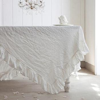 Decor/Accessories - Rachel Ashwell Shabby Chic Couture Cottage Linen Single Ruffle Tablecloth - cottage, linen, ruffle, tablecloth