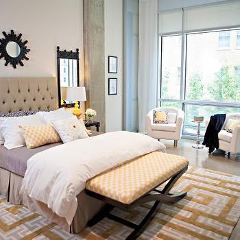 Studio Ten 25 - bedrooms - taupe, tufted, headboard, black, sunburst, mirror, glossy, black, tables, nightstands, glossy, yellow, lamps, black, mirrors, beige tufted headboard, beige headboard,