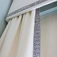 Studio Ten 25 - living rooms - white, cornice, box, black, white, Greek key, trim, white, drapes, black, white, Greek key trim, greek key curtains, greek key drapes, window panels with greek key trim, drapes with greek key trim, curtains with greek key trim,
