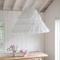 Lighting - Rachel Ashwell Shabby Chic Couture Petticoat Hoopskirt Overdyed Hanging Shade - linen, ruffled, hoopskirt, hanging, shade