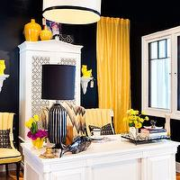 Studio Ten 25 - dens/libraries/offices - white, drum, pendant, black, ribbon, trim, bold, black, walls, yellow, silk, drapes, white, vintage, armoire, yellow, vintage, chairs, yellow, gray, wingback, chair, yellow curtains, yellow drapes, David Hicks Hexagon Wallpaper,