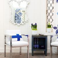 Sarah Richardson Design - dens/libraries/offices - white, ornate, mirror, polished chrome, chairs,  Chic office with white ornate mirror, polished