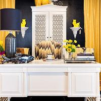 Studio Ten 25 - dens/libraries/offices - wingback, chair, white, armoire, bold, black, walls, yellow, silk, drapes, white, desk, yellow, gray, wingback, chair, yellow curtains, yellow drapes, yellow window panels, yellow and black office, David Hicks Hexagon Wallpaper,