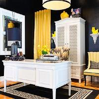 Studio Ten 25 - dens/libraries/offices - white, armoire, glossy, black, walls, white, drum, pendant, black, ribbon, trim, yellow, drapes, yellow, vintage, chairs, white, black, Greek key, rug, white, desk, black and yellow office, , David Hicks Hexagon Wallpaper,