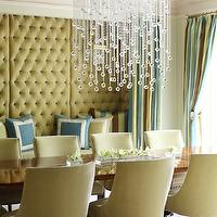 Tobi Fairley - dining rooms - alcove, nook, camel, velvet, tufted, walls, blue, green, frame, pillows, crystal, drops, linear chandelier, camel, dining chairs, nailhead trim, blue, green, brown, striped, drapes, built in alcove, built in nook,