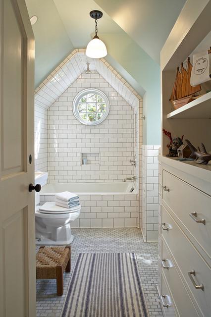 Vaulted Ceiling Shower Cottage Bathroom Tim Barber