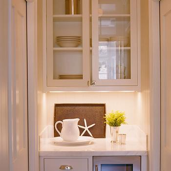 Tim Barber - kitchens - butler's pantry, white, glass-front, kitchen cabinets, marble, countertops, wine cooler, small butlers pantry, small butler pantry, pocket doors, butler pantry pocket doors, butlers pantry pocket doors,