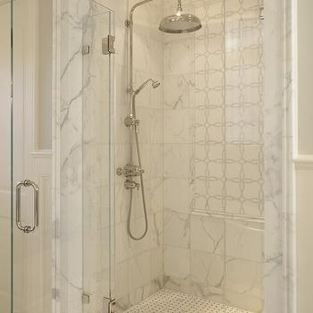 SDG Architects - bathrooms - seamless glass shower, rain, shower head, marble, tiles, shower surround, marble, mosaic, inset tiles, marble, basketweave, tiles, floor, marble shower surround,