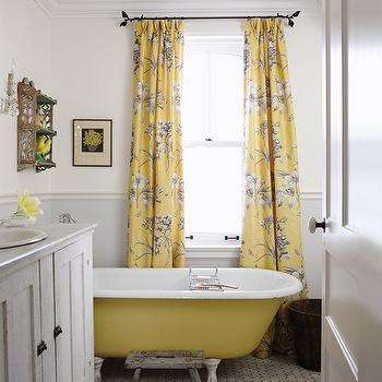 Yellow and Gray Curtains, Cottage, bathroom, Sarah Richardson Design