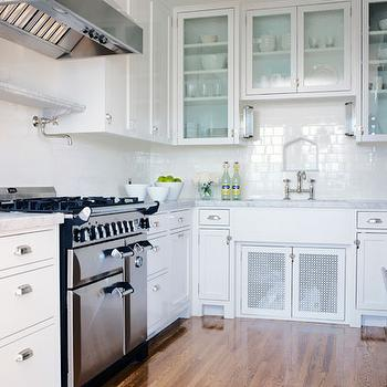 Tim Barber - kitchens - white, glass-front, kitchen cabinets, marble, countertops, subway tiles, backsplash, pot filler, nickel, bridge, faucet, flushmount, lights, white kitchen, all white kitchen,