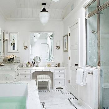 Tim Barber - bathrooms - polished nickel, shower, marble, shower surround, marble, tiles, floor, spa, tub, white, built-in, vanity, white, bathroom, vanity, marble, top, spa bathroom, spa like bathroom, white bathroom, white bathroom design,
