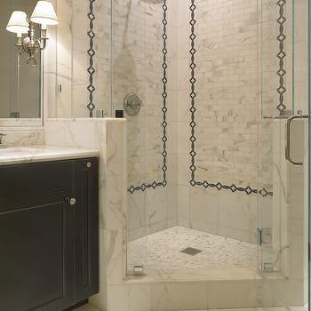 SDG Architects - bathrooms - rain, shower head, corner, seamless glass shower, marble, tiles, shower surround, tumbled marble, inset tiles, black, bathroom vanity, marble, countertop, shower surround, shower surround ideas, corner shower,