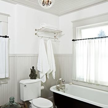 Jessica Helgerson Interior Design - bathrooms - glossy, gray, beadboard, ceiling, walls, cast iron, claw foot, tub, white, carrara, marble, hexagon, tiles, floor, polished nickel, towel rack, beadboard ceiling, bathroom beadboard ceiling, gray beadboard ceiling,
