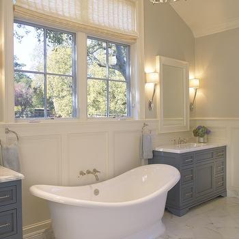 SDG Architects - bathrooms - marble, tiles, freestanding, tub, gray, single bathroom vanity, marble, top, bamboo, roman shade, polished nickel, lantern, wainscoting, gray washstand, gray vanity, gray single vanity, gray single washstand, gray cabinets, gray bathroom cabinets,