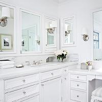 Tim Barber - bathrooms - marble, tiles, floor, black, inset, tiles, white, bathroom cabinet, marble, countertops, drop down, bathroom vanity, white, inset, medicine, cabinets, mirrors, drop down vanity, make up vanity, drop down make up vanity,