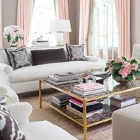 House & Home - living rooms - Benjamin Moore - Ranchwood - gray, walls, pink, drapes, French, drapes, white, sofa, chairs, purple, pillows, antique, mirrored, square, coffee table, abaca, rug, taupe paint color, taupe paint, taupe paint colors, taupe paint color, taupe walls,