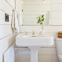 Jessica Helgerson Interior Design - bathrooms - wood paneled, walls, white, pedestal, sink, oak, wood floors,  Rustic bathroom with white paneled