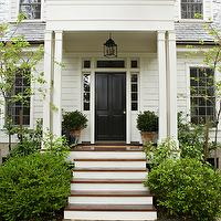 Tim Barber - home exteriors - cape cod, glossy, black, door,  Lovely Cape Cod home with glossy black door.