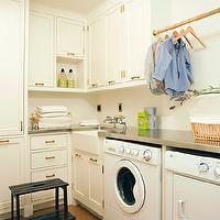 Tim Barber - laundry/mud rooms - white, shaker, cabinets, stainless steel countertops, small, farmhouse, sink, white, washer, dryer,  Fantastic